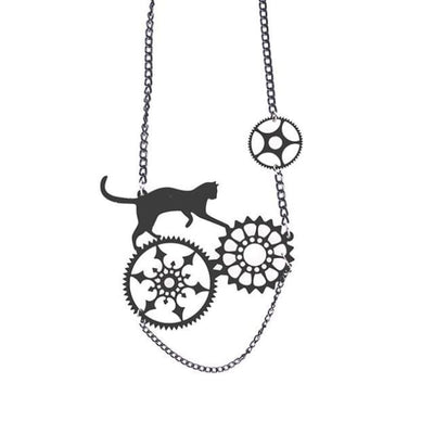 Playful Black Cat Earrings And Necklace