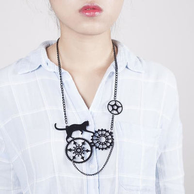 Playful Black Cat Earrings And Necklace - Necklace