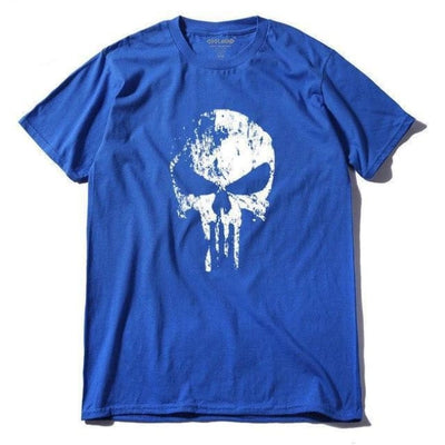 Punk Gothic Faded Skull 100% Cotton T-Shirt - Bl / Xs