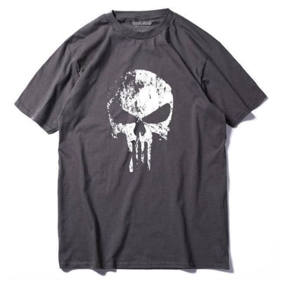 Punk Gothic Faded Skull 100% Cotton T-Shirt - Ts / Xs