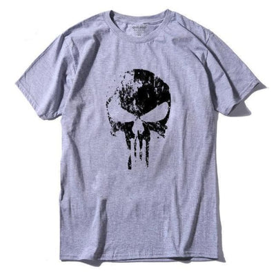 Punk Gothic Faded Skull 100% Cotton T-Shirt - Grey / Xs
