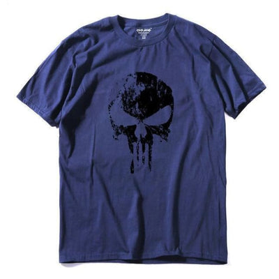 Punk Gothic Faded Skull 100% Cotton T-Shirt - Nav 1 / Xs