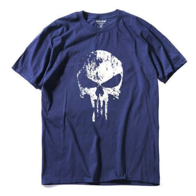 Punk Gothic Faded Skull 100% Cotton T-Shirt - Nav / Xs