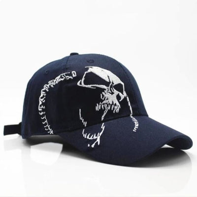 Punk Gothic Skull Embroidery Cap - Navy Blue / Adjustable