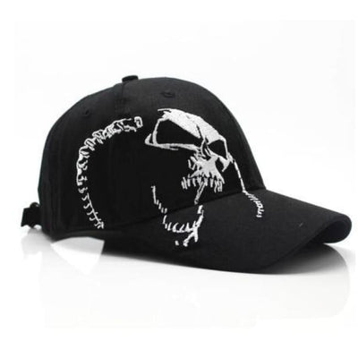 Punk Gothic Skull Embroidery Cap - Black / Adjustable