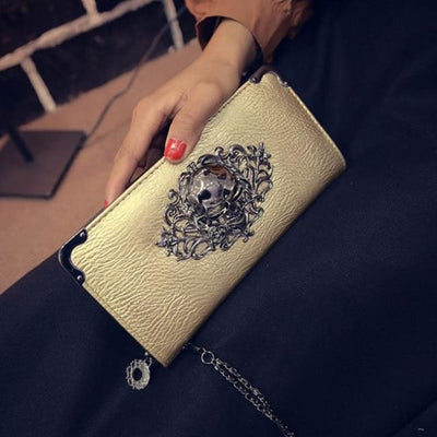 Punk Gothic Skull Leather Clutch - Gold