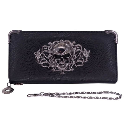 PUNK GOTHIC SKULL LEATHER CLUTCH-Rebellious Creatures