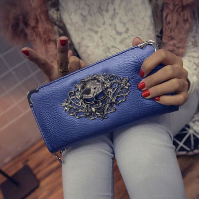 Punk Gothic Skull Leather Clutch - Blue