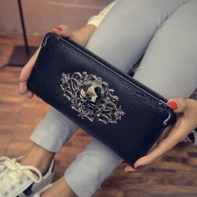 Punk Gothic Skull Leather Clutch