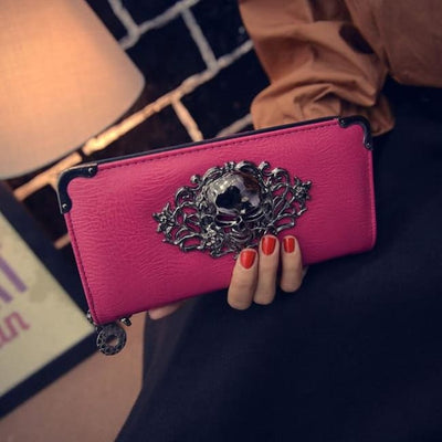 Punk Gothic Skull Leather Clutch - Rose Red