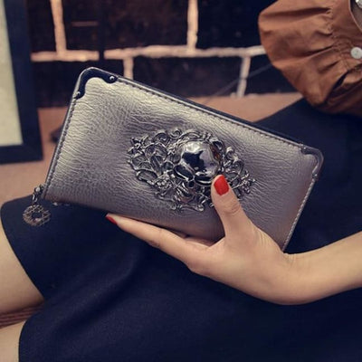 Punk Gothic Skull Leather Clutch - Champagne