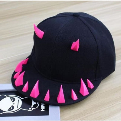 Punk Gothic Spiked Rivet Devil Cap - Pink