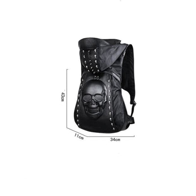 Punk Pu Leather Hooded Skull Rivet Backpack