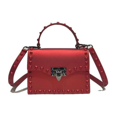 Punk Rivet Studs Messenger Pu Leather Handbag - Red Big