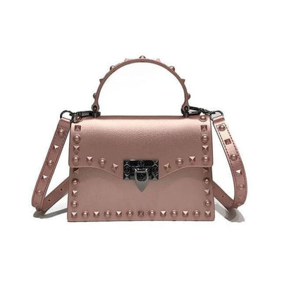 Punk Rivet Studs Messenger Pu Leather Handbag - Pink Big