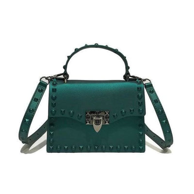 Punk Rivet Studs Messenger Pu Leather Handbag - Green Big