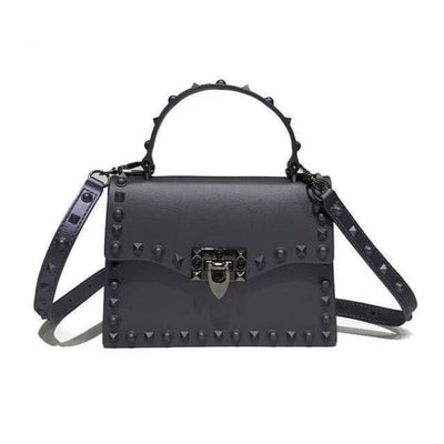 Punk Rivet Studs Messenger Pu Leather Handbag - Gray Big