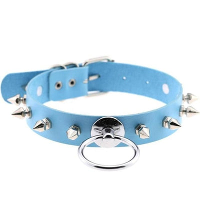 Punk Rock Gothic Harajuku Spike Stud Choker & O-Ring - Skyblue