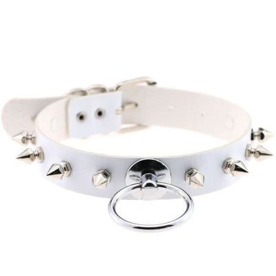 Punk Rock Gothic Harajuku Spike Stud Choker & O-Ring - White