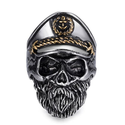 PUNK ROCK OLD BEARDED CAPTAIN SKULL RING-Rebellious Creatures