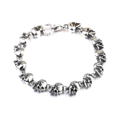 PUNK ROCK SKULL STEEL BRACELET-Rebellious Creatures