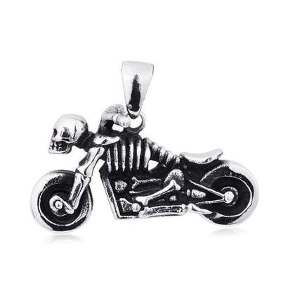 PUNK ROCK VINTAGE SKULL MOTORCYCLE PENDANT NECKLACE-Rebellious Creatures