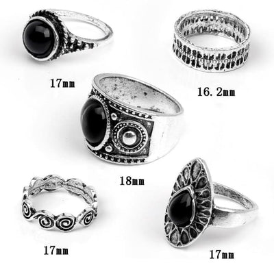 Punk Water Drop Ring Set