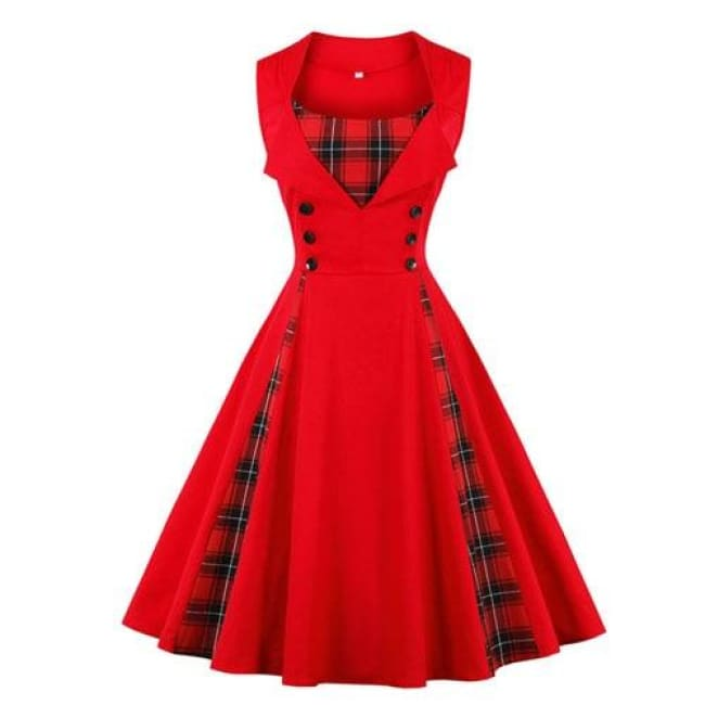 ROCKABILLY PLAID VINTAGE DRESS WITH PLUS SIZES