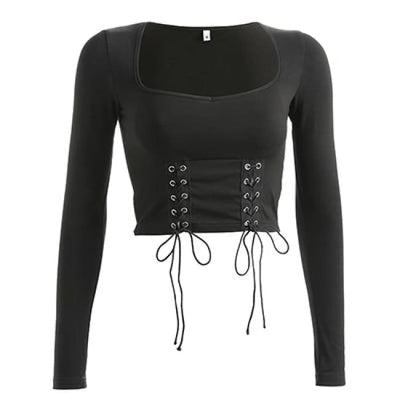 Sexy Double Lace Up Crop Top - Black / L