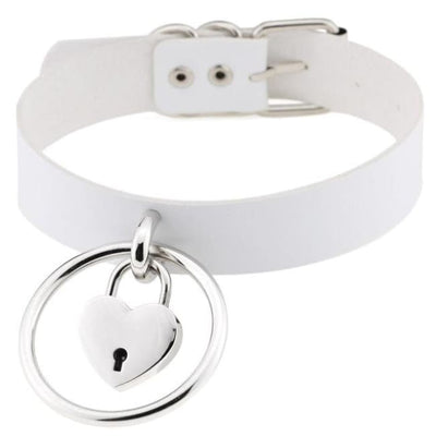Sexy Goth Punk Heart Lock & Key O-Ring Leather Choker - White