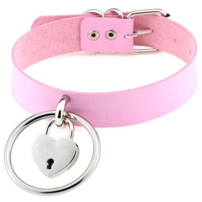 Sexy Goth Punk Heart Lock & Key O-Ring Leather Choker - Pink