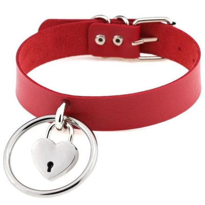 Sexy Goth Punk Heart Lock & Key O-Ring Leather Choker - Red