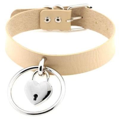 Sexy Goth Punk Heart Lock & Key O-Ring Leather Choker - Beige