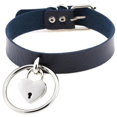 Sexy Goth Punk Heart Lock & Key O-Ring Leather Choker - Darkblue