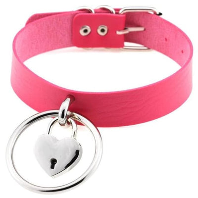Sexy Goth Punk Heart Lock & Key O-Ring Leather Choker - Hotpink