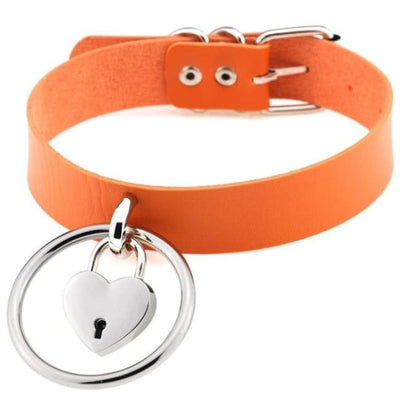 Sexy Goth Punk Heart Lock & Key O-Ring Leather Choker - Orange