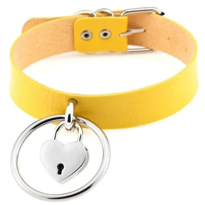Sexy Goth Punk Heart Lock & Key O-Ring Leather Choker - Yellow