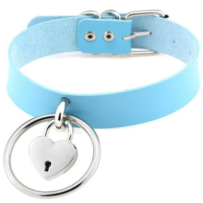 Sexy Goth Punk Heart Lock & Key O-Ring Leather Choker - Skyblue