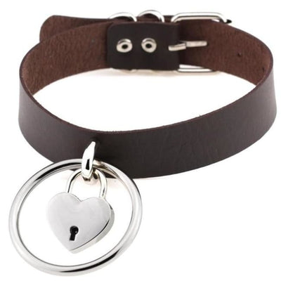 Sexy Goth Punk Heart Lock & Key O-Ring Leather Choker - Saddlebrown