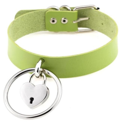 Sexy Goth Punk Heart Lock & Key O-Ring Leather Choker - Green