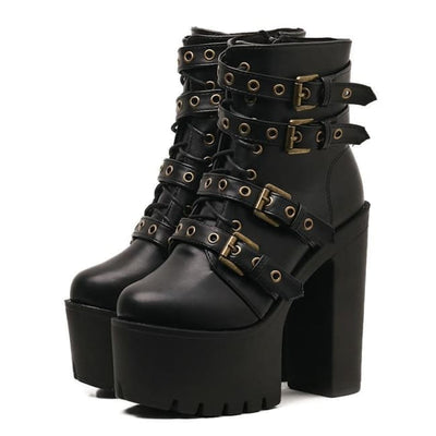 SEXY GOTHIC PUNK RIVET BLACK ANKLE PLATFORM HEELS SHOES-Rebellious Creatures