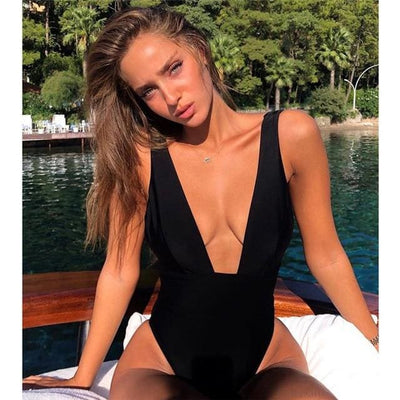 SEXY MONOKINI V-NECK SWIMSUIT - BLACK / L - Swimwear