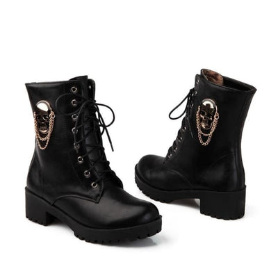 Speak Of The Devil & She Shall Appear Gothic Skull Ankle Boots