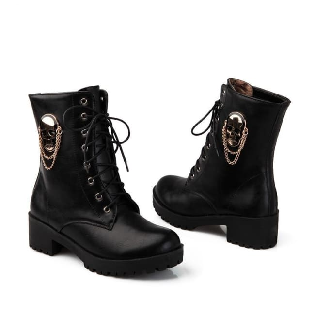 """SPEAK OF THE DEVIL & SHE SHALL APPEAR"" GOTHIC SKULL ANKLE BOOTS"