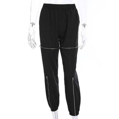 STREETWEAR ZIPPED KNEES PANTS - BLACK / L - Bottoms