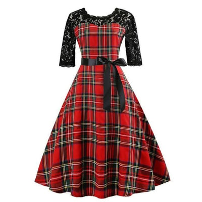 VINTAGE LACE PLAID DRESS & PETTISKIRT-Rebellious Creatures