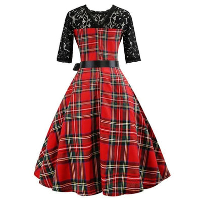 Vintage Lace Plaid Dress & Pettiskirt