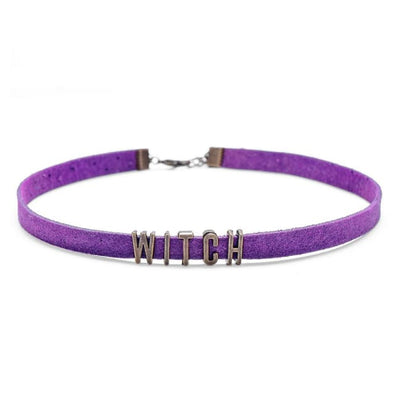 Vintage Letters Velvet Choker (Customisable) - Custom Message / Purple