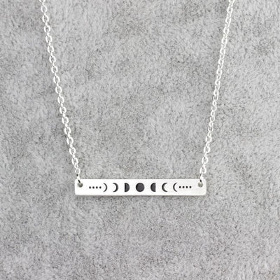 Wicca Lunar Dark Moon Phase Necklace - Silver