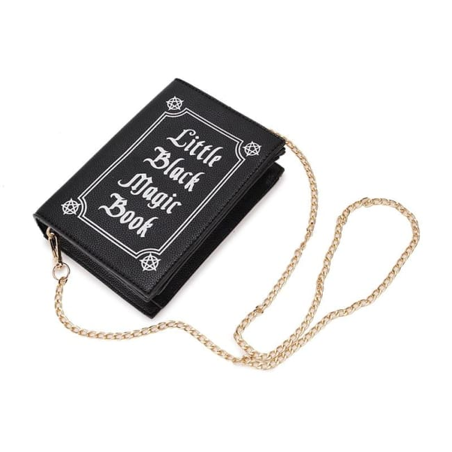 "WICCAN ""LITTLE BLACK MAGIC BOOK"" CLUTCH SHOULDER HANDBAG-Rebellious Creatures"